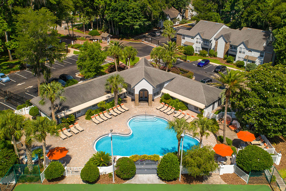 Aerial view of Spyglass including the pool area