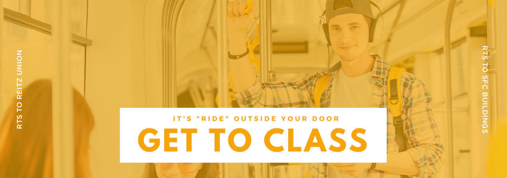 It's 'ride' outside your door GET TO CLASS